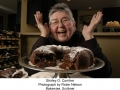 "Shirley Corriher, Atlanta food scientist, with ""tunnel of fudge"" oozing from middle of chocolate cake. ??Robin Nelson"