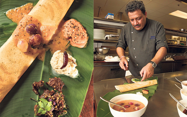 CINDY ELLEN RUSSELL/CRUSSELL@STARADVERTISER.COM South Indian street food features dosa, a crepe made from rice and lentil flour and topped with shambar, with tomato chutney, coconut chutney and beef-chili fry. Vikram Garg, executive chef at the Halekulani, will present a selection of Indian street food at a special benefit event Jan. 31.